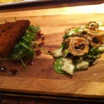 Pulled pork croquette and brown butter gnocci