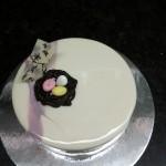 Yoghurt mousse, casis cremeaux and coconut sponge
