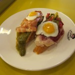 Fried egg and Jamon two ways
