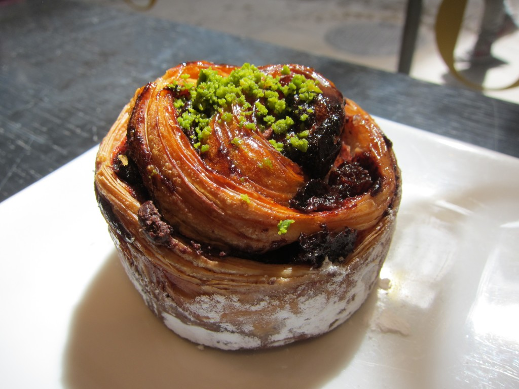 Chocolate, cherry and pistachio danish