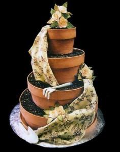Flowerpot wedding cake