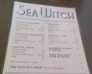 Sea Witch Menu