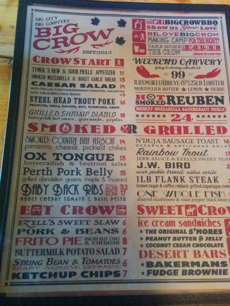 Big Crow Menu